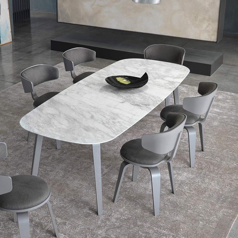 Attractive Pebble Marble Dining Table, White WV56